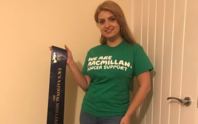UK's National Miss Leeds, Kelly, has been busy fundraising for Macmillan!